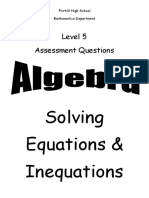 n5 algebra solving equations inequations ppqs