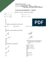 Avaliação I Unidade 8ª Série 2016