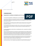 Comunicado Puc Goiás - Suspensão Do Vestibular de Medicina