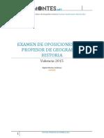 Examen Oposiciones Geografia e Historia Valencia 20151