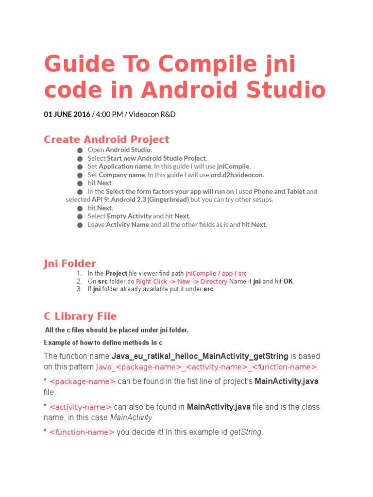 Compile Jni Code in Android Studio | Android (Operating System