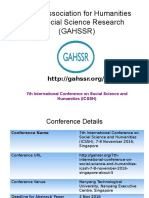 7th International Conference on Social Science and Humanities (ICSSH)