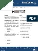 BlueOptics BO25K859S2D 40GBASE-SR4 QSFP Transceiver 4x850nm 150 Meter Multimode MPO 40 Gigabit