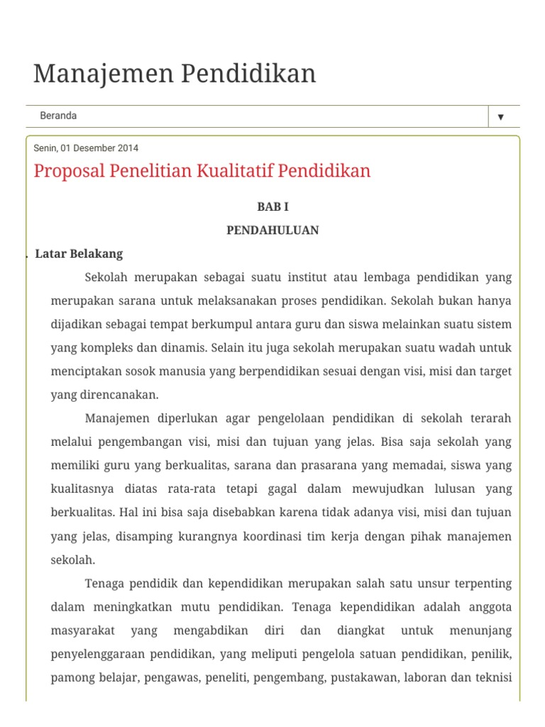 Proposal Penelitian Kualitatif Pendidikan Pdf