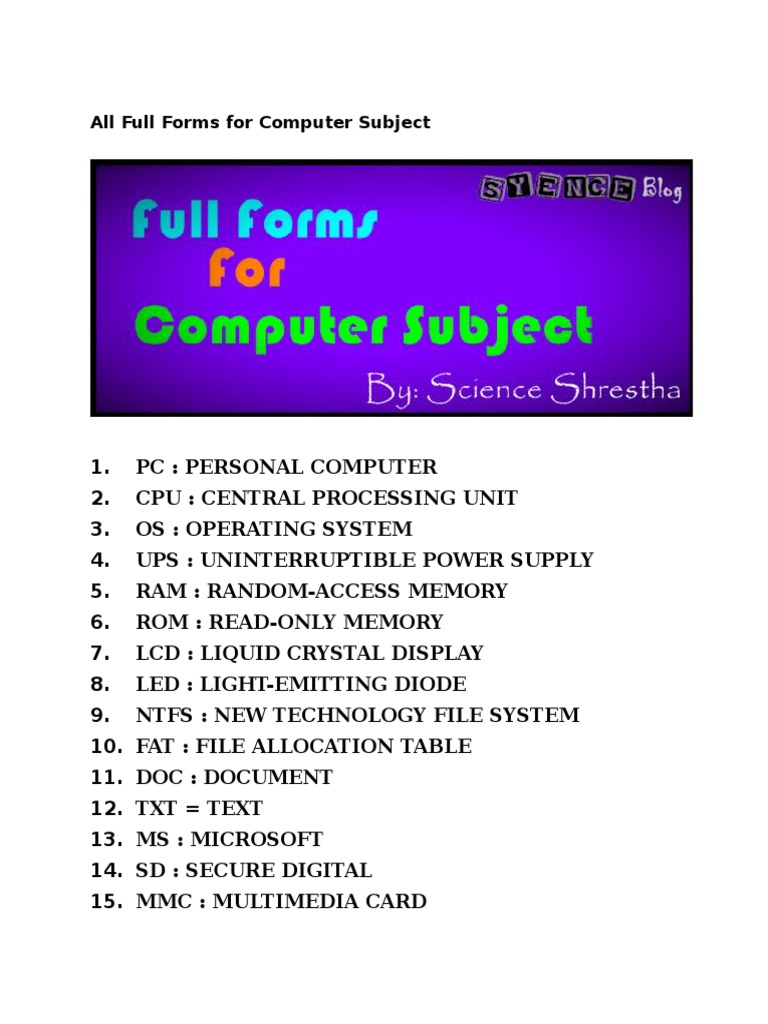 All Full Forms for Computer Subject pdf | Domain Name