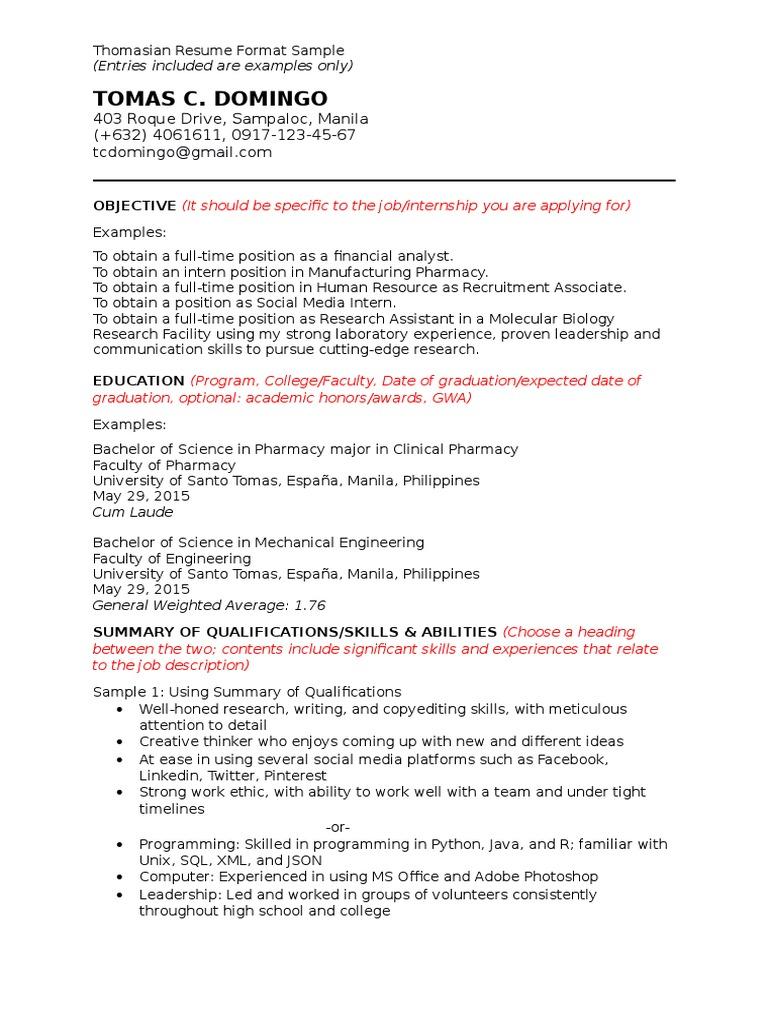 thomasian resume format internship digital social media