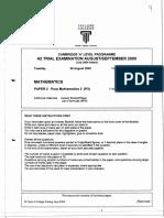 Kfccalmt9709 - Exam Paper - 200508 - Maths p3 - Trial Exam - Taylor