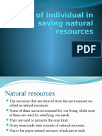 Role of Individual in Saving Natural Resources