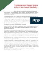 Ene.25.2012 - Palabras del Presidente Juan Manuel Santos en la presentación de los Juegos Mundiales 2013