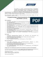 Projektmanager Pharmazeutische Entwicklung - Apotheker (m/w)