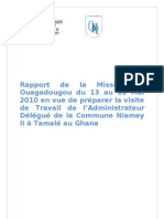 Rapport de La Mission de Ouagadougou Du 13 Au 16 Mai 2010 de la Commune II