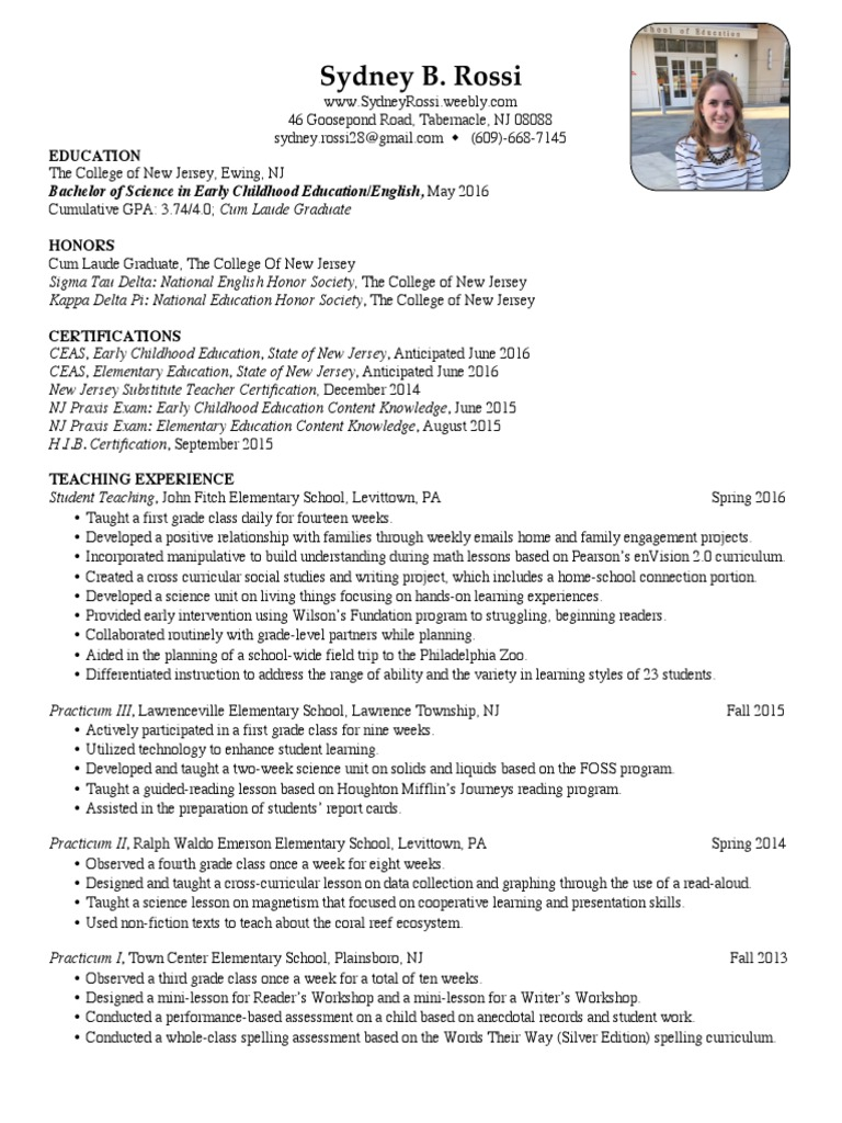 Rossis Resume Differentiated Instruction Teachers