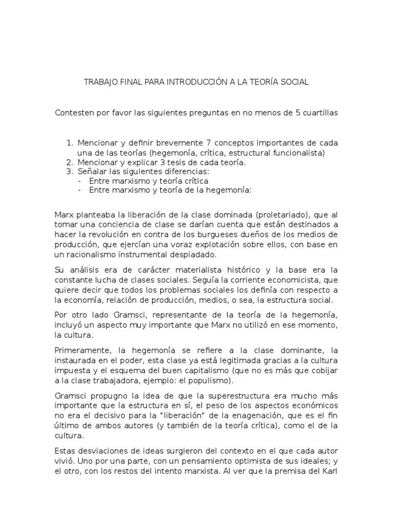 Teoría Social Estructural Funcionalismo Teoría Crítica Y Teoría