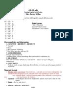 6th grade beginning of year letter website