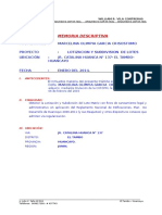 memoria descriptiva para una subdivision de lotes