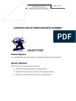 Unit 7 Construction of Rigid Concrete Pavement