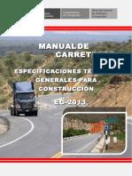 Manual de Carreteras - Especificaciones Tecnicas Generales Para Construcción - EG-2013 - (Versión