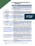 Terminos utilizados en una Investigacion de mercado