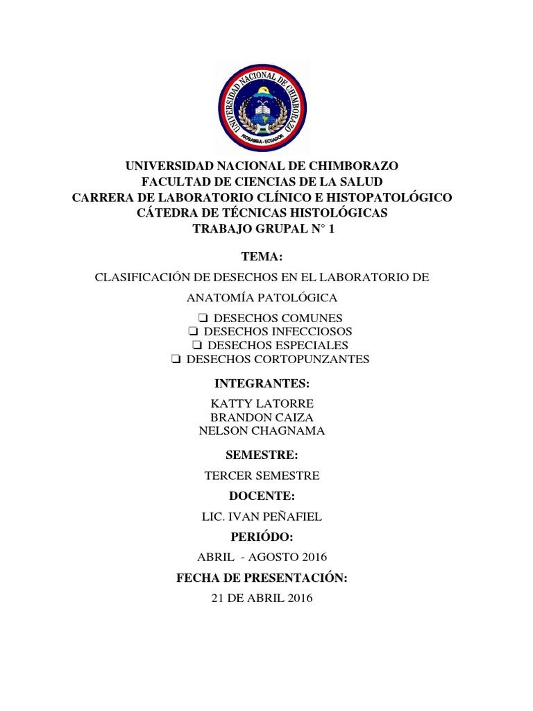 Clasificación de Los Desechos en El Laboratorio de Anatomia Patologica