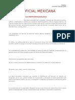 Norma Oficial Mexicana Resumen Expediente