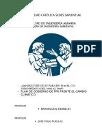 Plan de Gobierno de Ppk Ante El Cambio Climatico