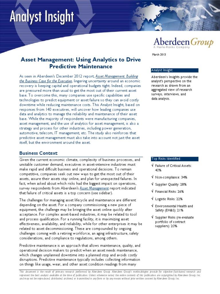 Aberdeen Group – Asset Management Predictief Onderhoud Stimuleren ...