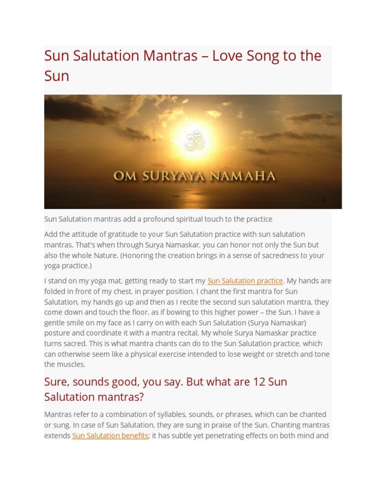 Sun Salutation Mantra Meaning