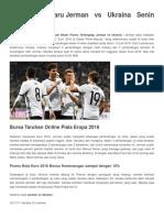 13 Juni JermaPrediksi Terbaru Jerman vs Ukraina Senin 13 Juni 2016n vs Ukraina