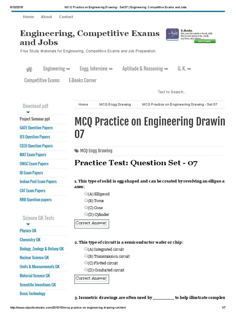 MCQ Practice on Engineering Drawing - Set 07 _ Engineering