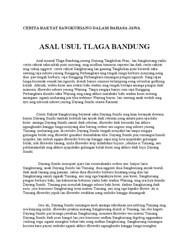 Cerita Rakyat Sangkuriang Dalam Bahasa Jawa Docx