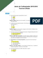 Le test et les réponses de la finale des Timbrés de l'orthographe