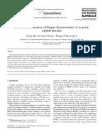 Laboratory evaluation of fatigue characteristics of recycled asphalt mixture
