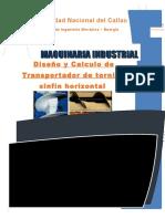 Diseño y Calculo de Transportador de Tornillo Sinfín Horizontal