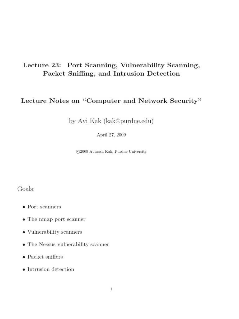 Lecture 23 - Port Scanning, Vulnerability Scanning, Packet