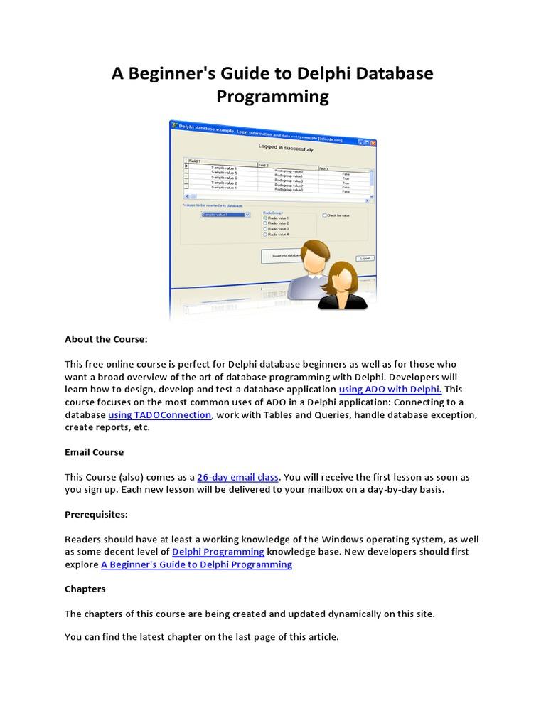 beginner s guide to delphi database programming microsoft access rh es scribd com Database Management Database Developer Job Description