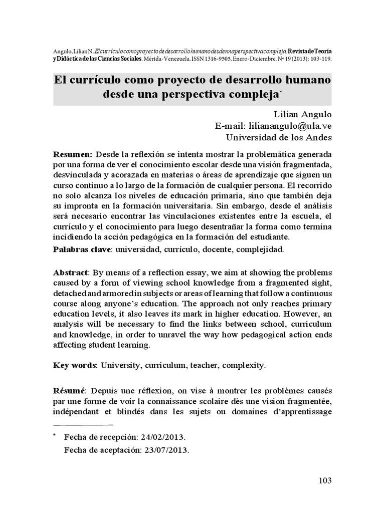 El Currículo Como Proyecto de Desarrollo Humano Desde Una ...