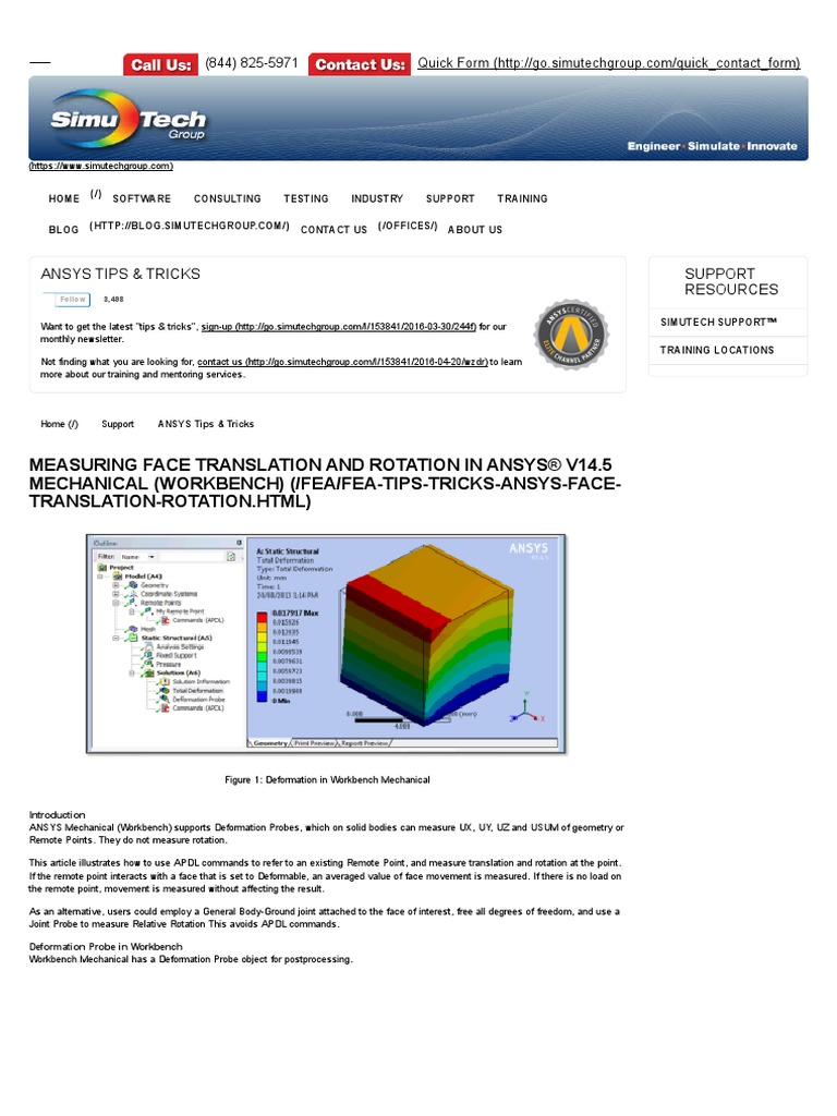 Measuring Face Translation and Rotation in ANSYS® v14 | Deformation