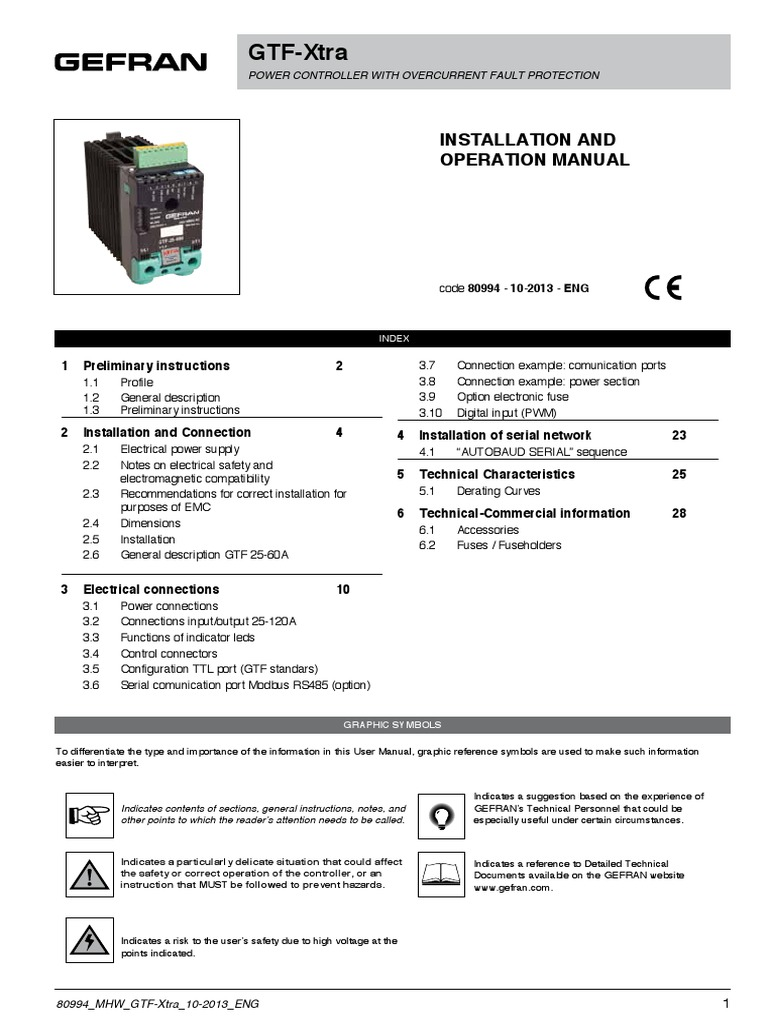 Gefran Gtf Xtra Manual Power Supply Electromagnetic Compatibility Solid State Relay
