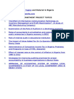 Research Project Topics and materials in Nigeria