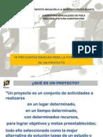 INTERFIS. DB05. PROYECTO. 10 preguntas básicas para la formulación de un proyecto