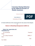 Study of Consumer Buying Behavior regarding the different Brands of Mobile Handsets