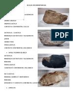Rocas Sedimentarias y Metamorficas