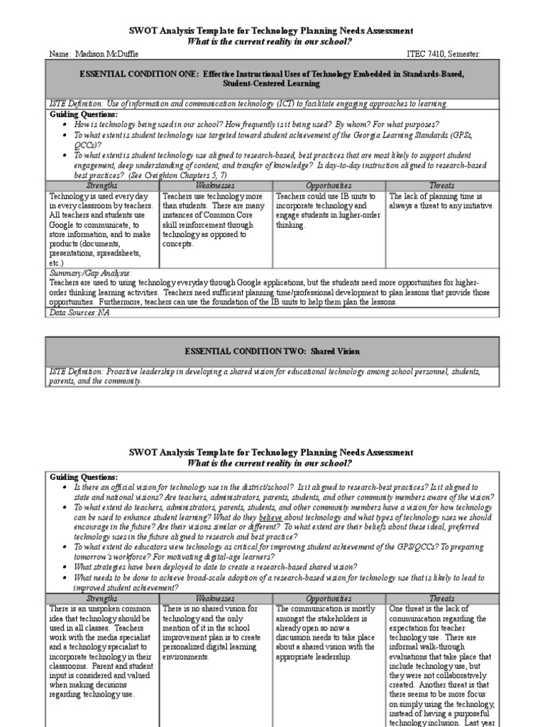 Generous Technology Needs Assessment Template Ideas - Examples ...