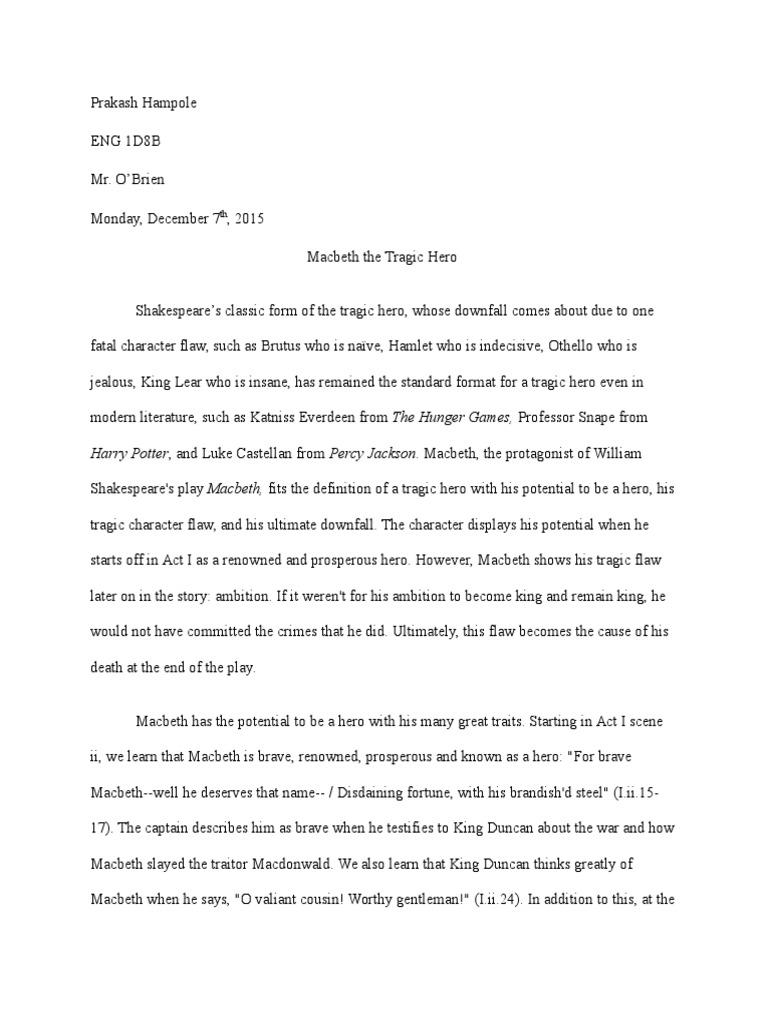 is macbeth a tragic hero argumentative essay