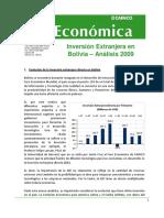 Inversion Extranjera en Bolivia Analisis 2009