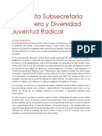 Propuesta Secretaría de Género y Diversidad Juventud Radical