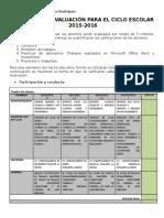 Criterios de Evaluación informatica secundaria 2016