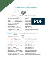 homework  1 homonyms homographs homophones