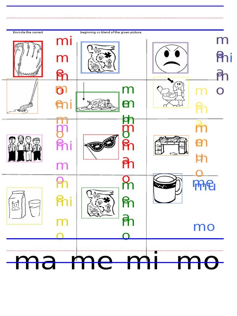 Ws Ma Me Mi Mo Mu Blends Worksheet