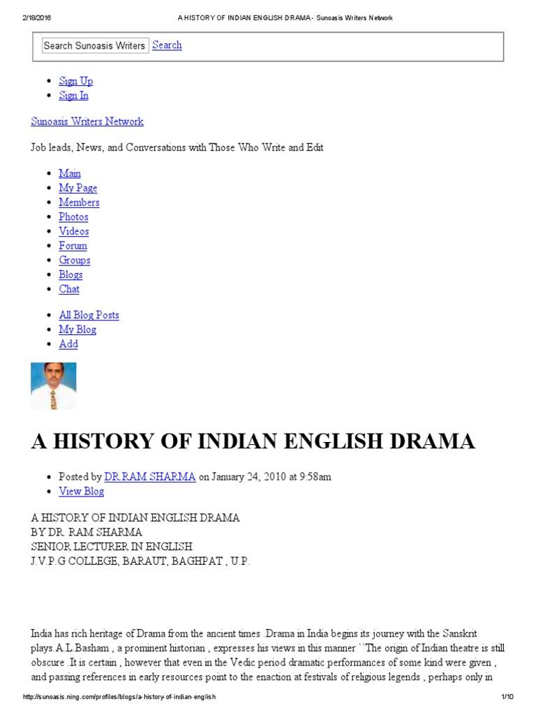 A HISTORY OF INDIAN ENGLISH DRAMA